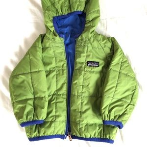 Reversible Patagonia baby puffer jacket with hood